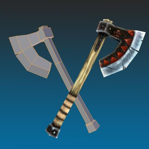 Low Poly Orc Axe Hand Painted 2 - 3DOcean Item for Sale