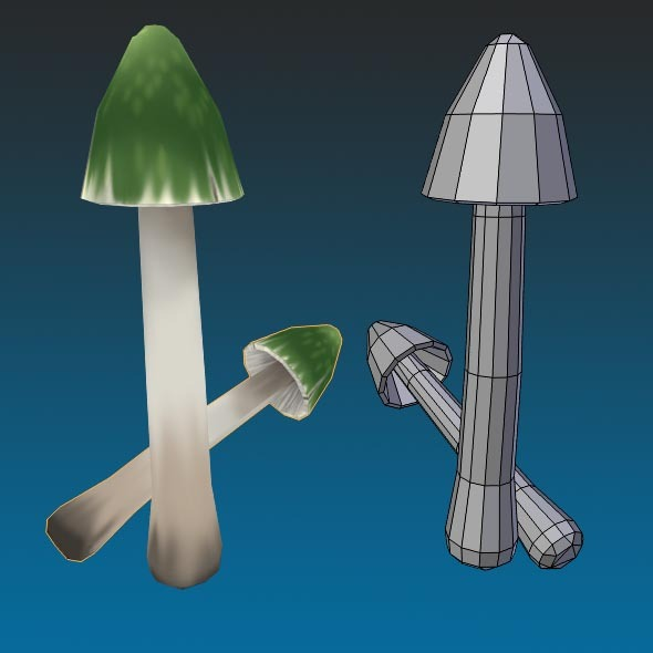 Low Poly Green Mushroom Hand Painted - 3DOcean Item for Sale