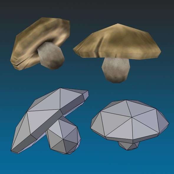 3DOcean Low Poly Boletus Mushroom Hand Painted 12809149