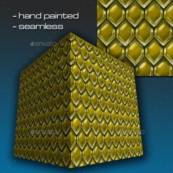 Seamless Hand Painted Golden Dwarven Scale Mail 1 - 3DOcean Item for Sale