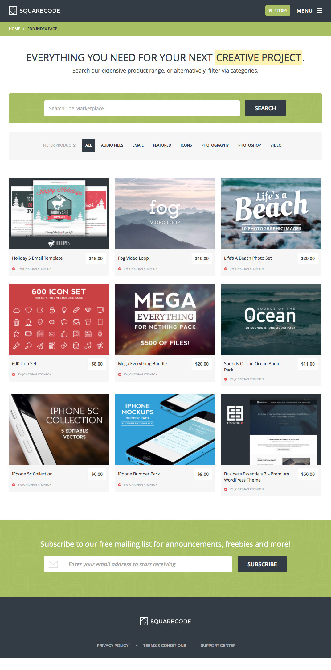 SquareCode WordPress Theme
