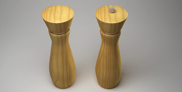 3DOcean Wooden salt and pepper mill 12762275