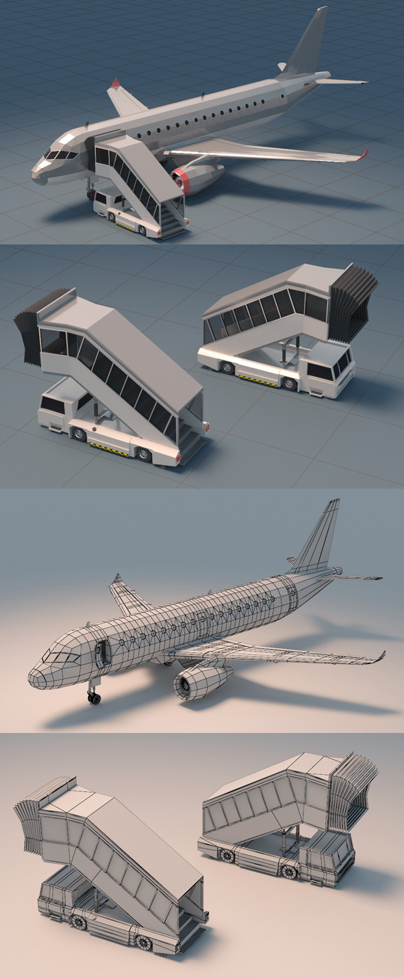 Low Poly Jet Plane with Airport Gangway - 3DOcean Item for Sale