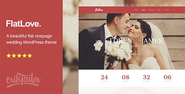13 - FlatLove - Flat Onepage Wedding WordPress Theme