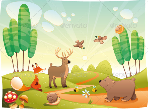 Graphic River Animals in the Wood Vectors -  Characters  Animals 154484