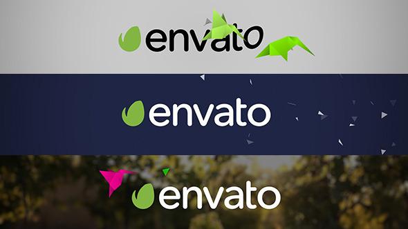 AE模板-二维扁平化风格纸鹤动画开场自然电视频道宣传片头模板Flat Bird Quick Logo Reveal免费下载