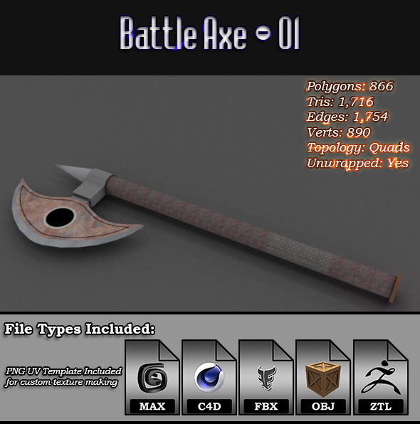 Low Poly Battle Axe - 01 - 3DOcean Item for Sale