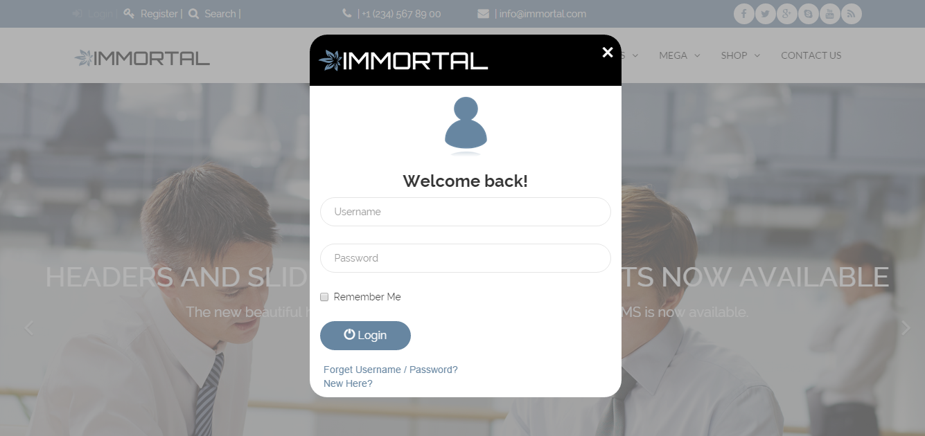 Immortal header with bootstrap carousel and modal bootstrap login form falaconquin