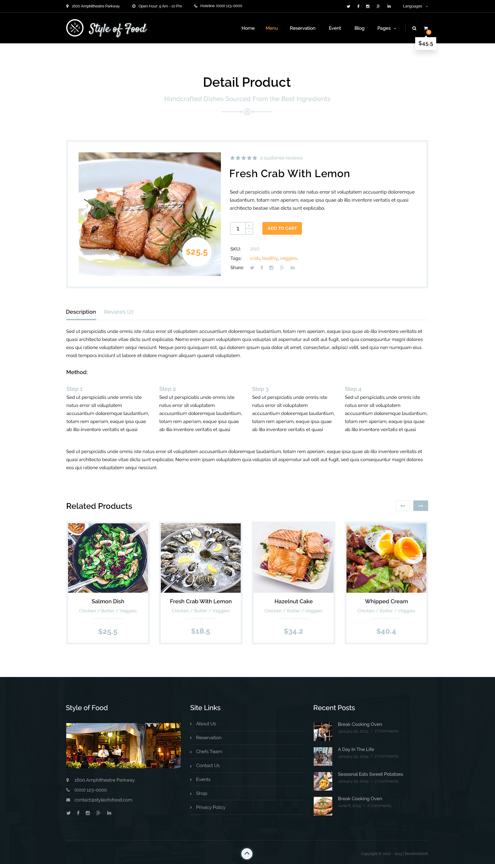 Style of Food Restaurant Cafe PSD Template by bestwebsoft – Product Description Template