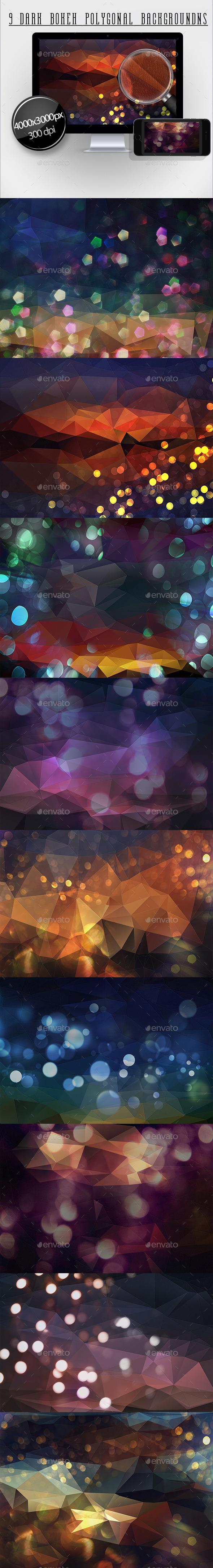 9 Dark Bokeh Polygonal Backgrounds