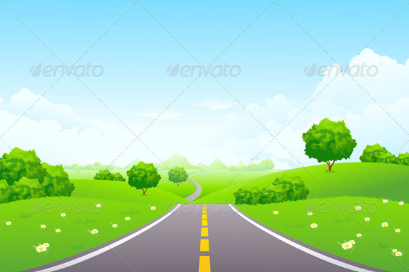 GraphicRiver Landscape Green Hill with Road and Mountains 1285763