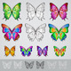 Set of different colored butterflies  - GraphicRiver Item for Sale