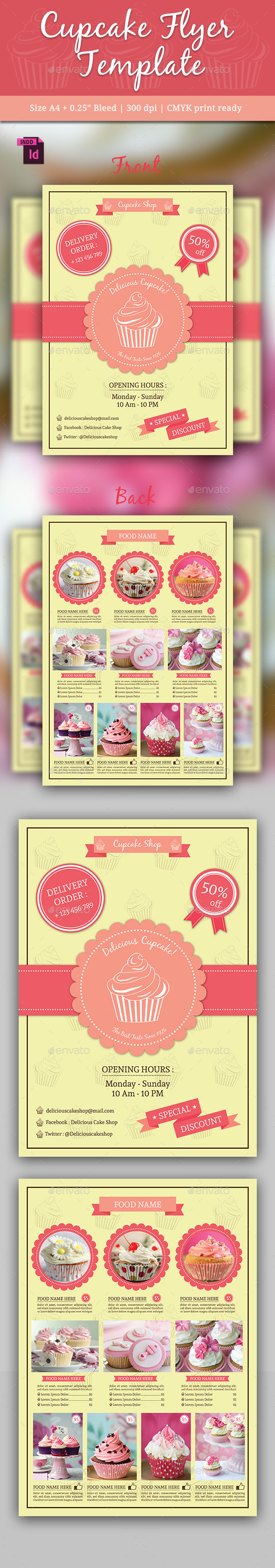 Cupcake Flyer Template Vol. 2