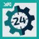 24 Hour Support - Gear Setting Logo