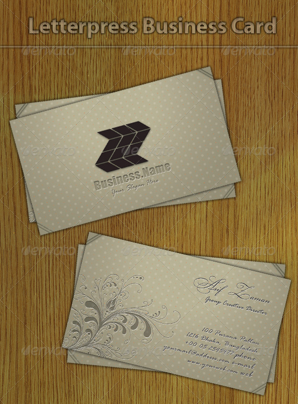 Letterpress Business Card - Creative Business Cards