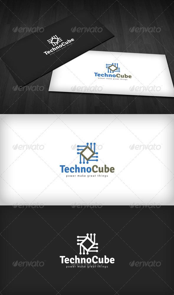 Techno Cube Logo - Vector Abstract