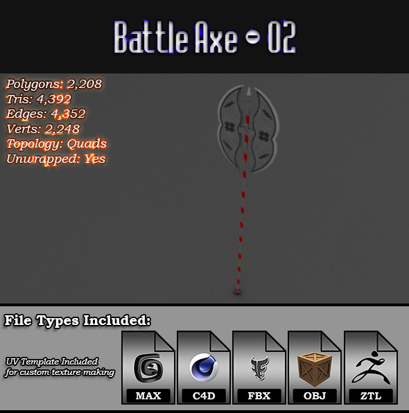 Low Poly Battle Axe - 02 - 3DOcean Item for Sale