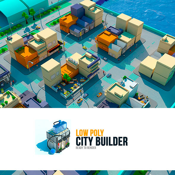low poly city builder - 3DOcean Item for Sale