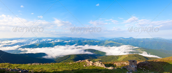 summer cloudy mountain landscape - Stock Photo - Images