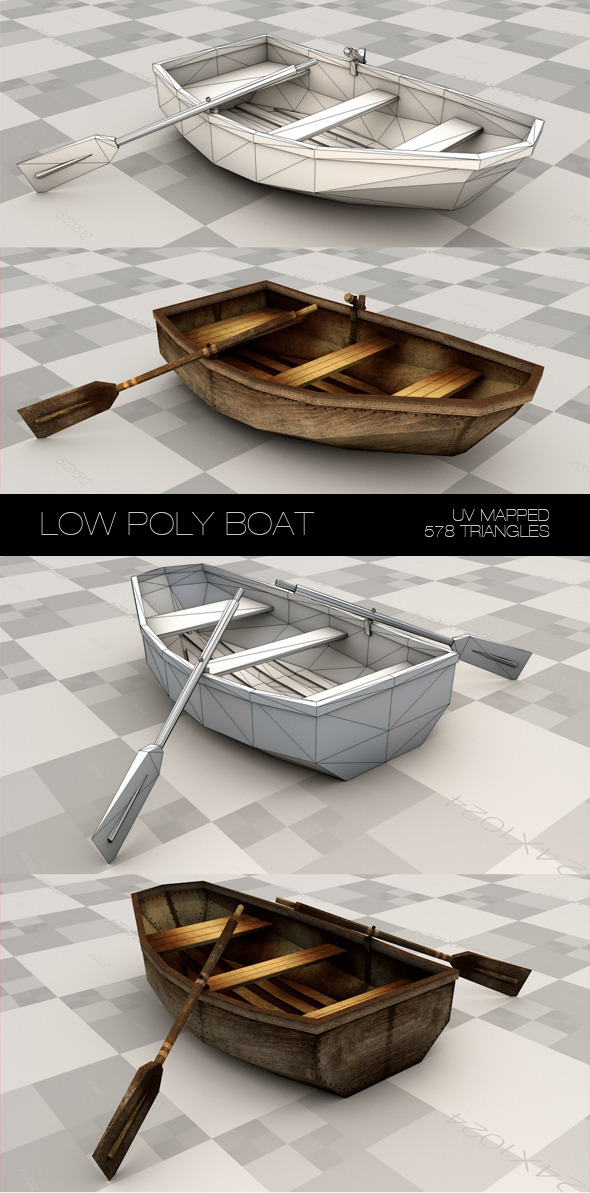 Low poly boat made with plywood. - 3DOcean Item for Sale