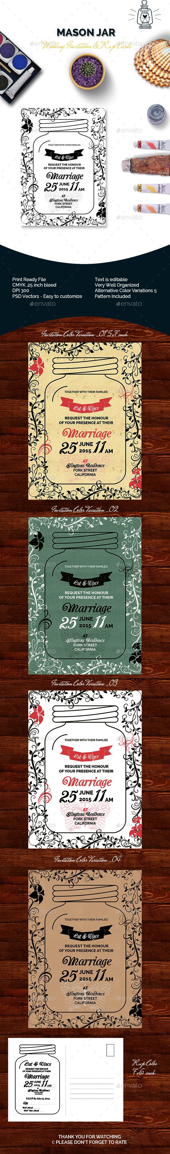 Mason Jar Wedding Invitation & RSVP
