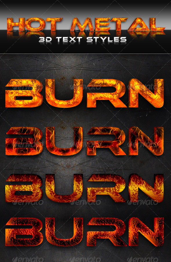 Hot Metal 3D Text Styles - Text Effects Styles