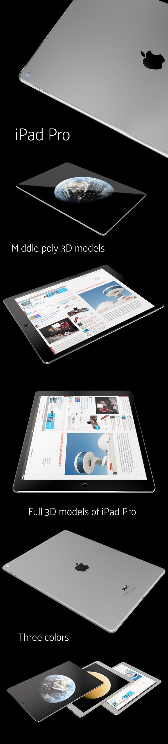 3D models of iPad Pro - 3DOcean Item for Sale