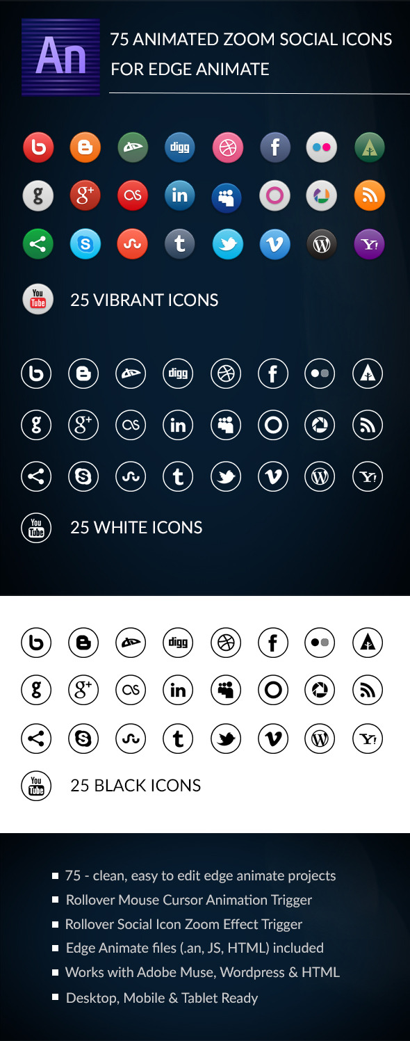 CodeCanyon 75 Animated Zoom Social Icons 12784693