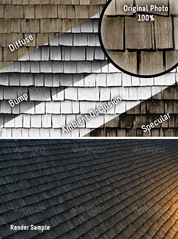 Weathered Cedar Shingles - Tileable Texture - 3DOcean Item for Sale