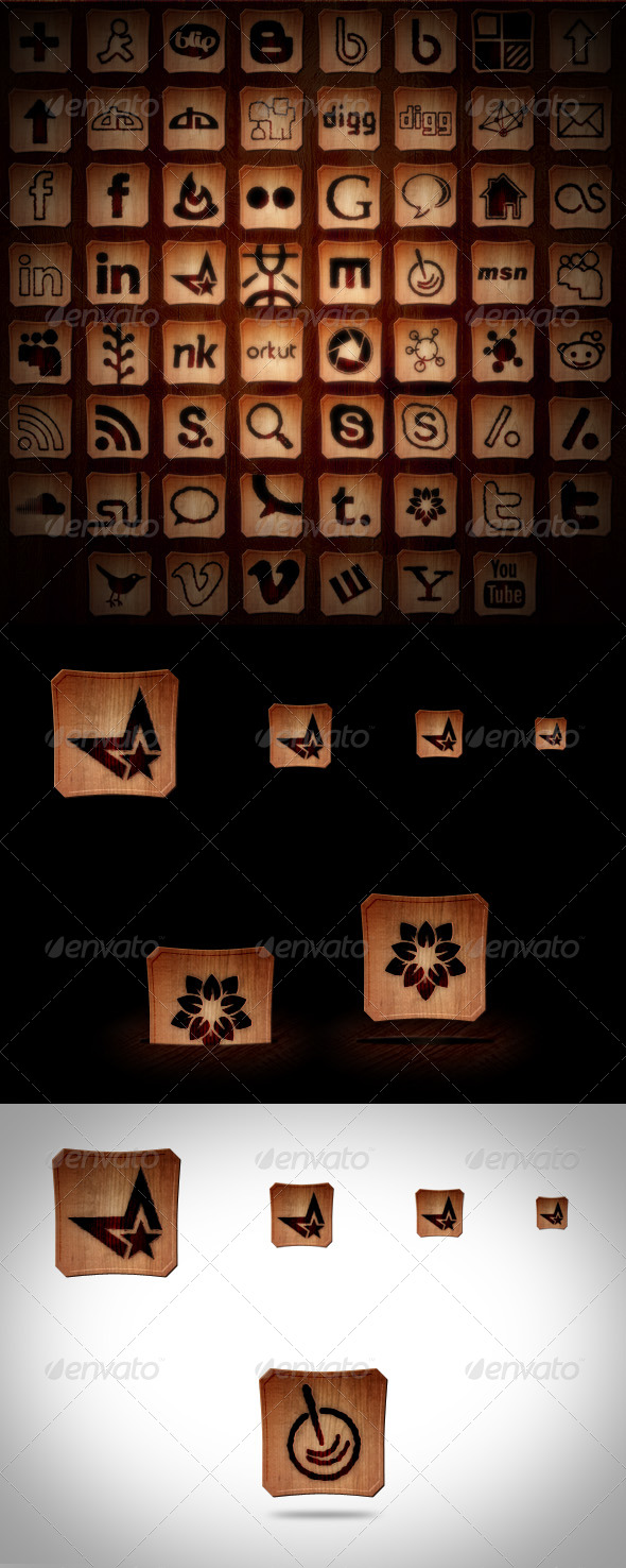 GraphicRiver 45& Social Media Icons Burned Wood 154989