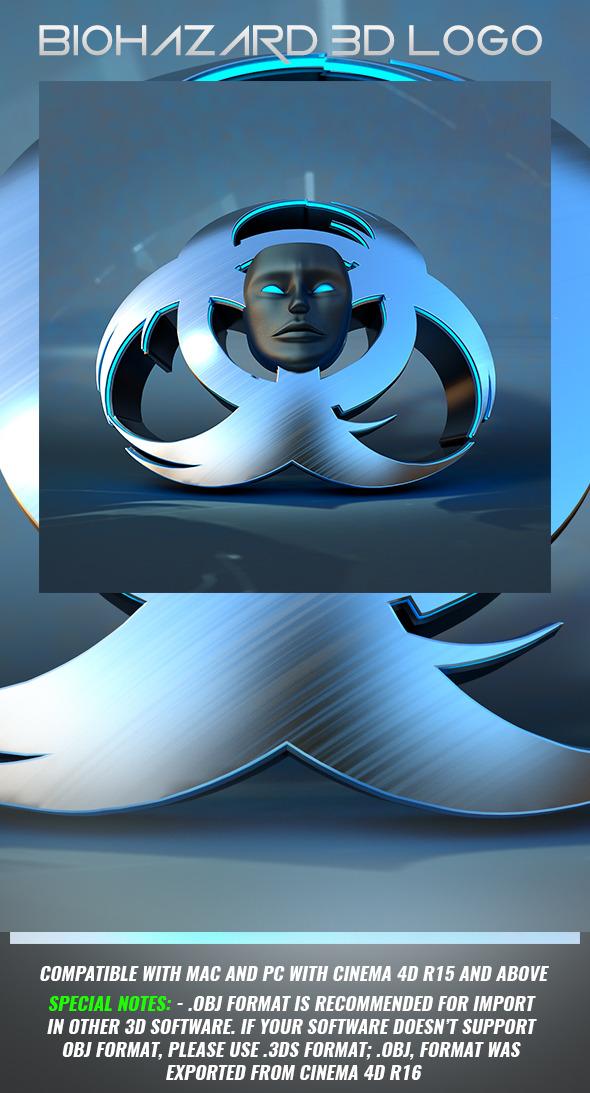 Biohazard 3D Logo - 3DOcean Item for Sale