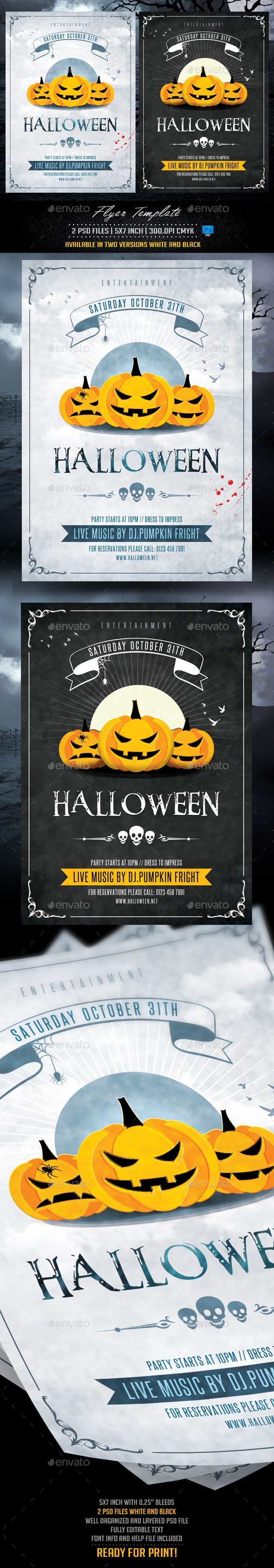 Halloween Flyer Template White and Black