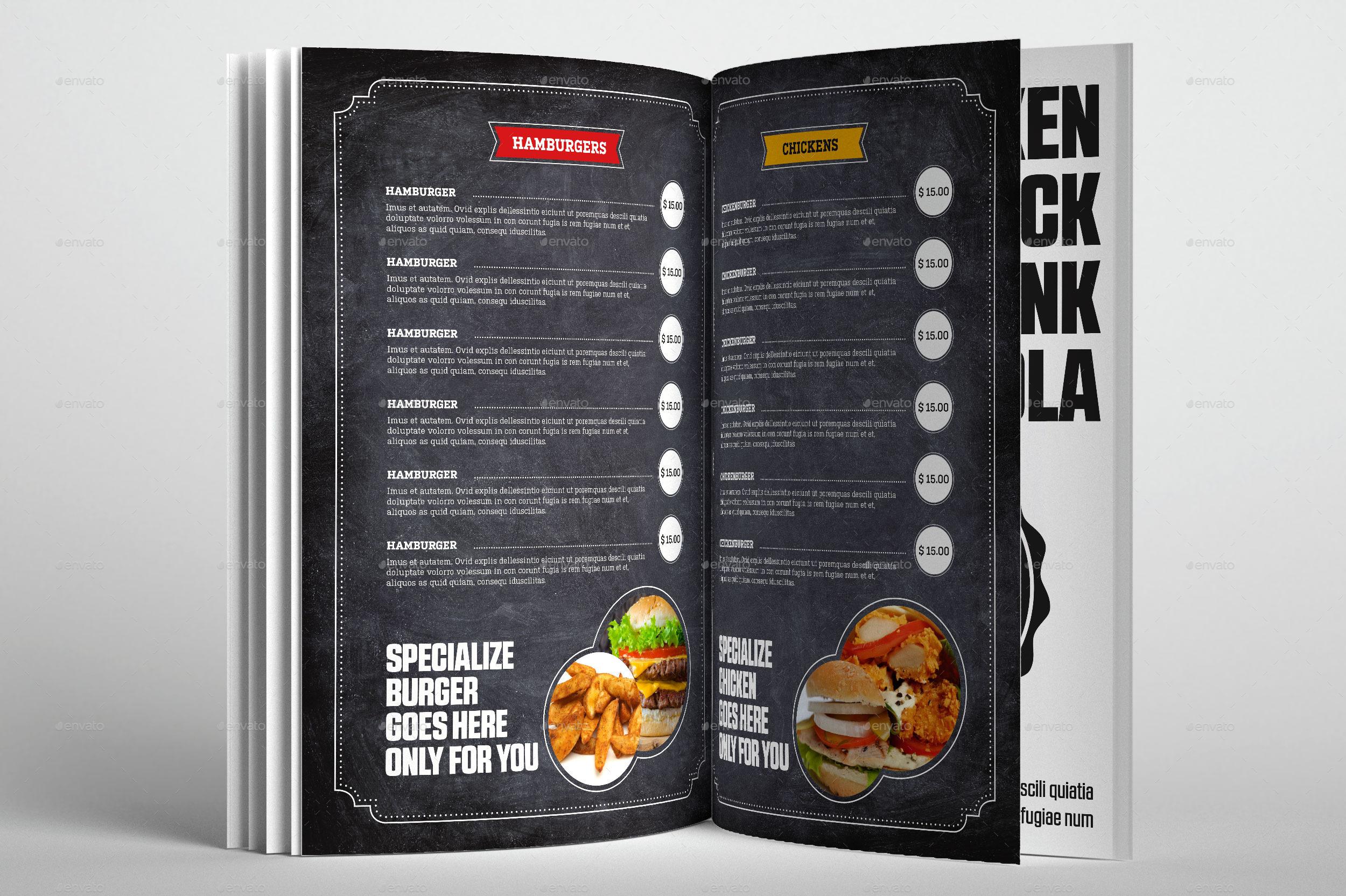 Food Restaurant Menu Chalk Board Template by Graphimania – Sample Chalkboard Menu Template