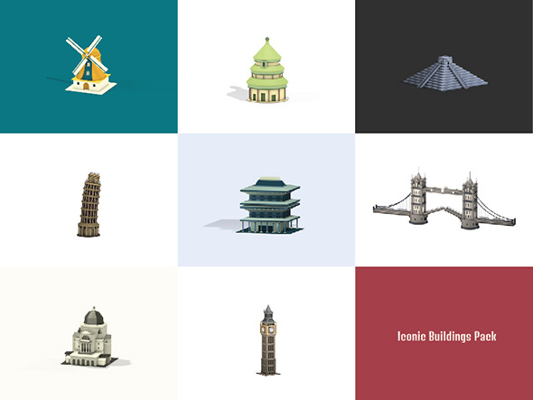 Lowpoly Iconic Buildings Pack - 3DOcean Item for Sale