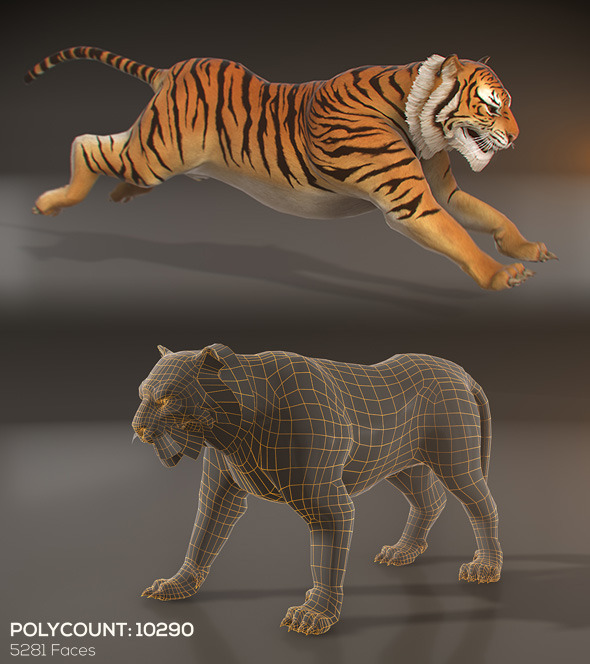 Animated Tiger - Low Poly By PixelGem
