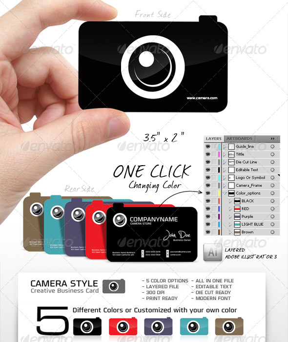 GraphicRiver Camera Shape Unique and Creative Business Card 155131