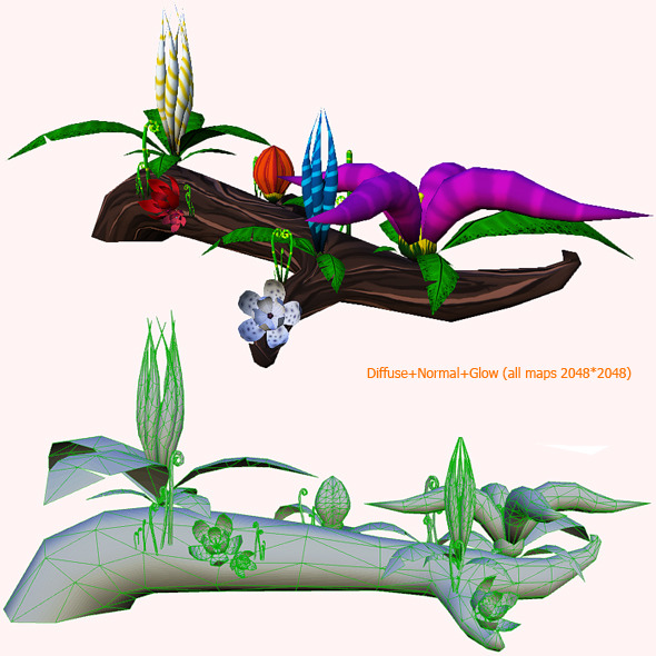 Flowers on trunk Lowpoly - 3DOcean Item for Sale