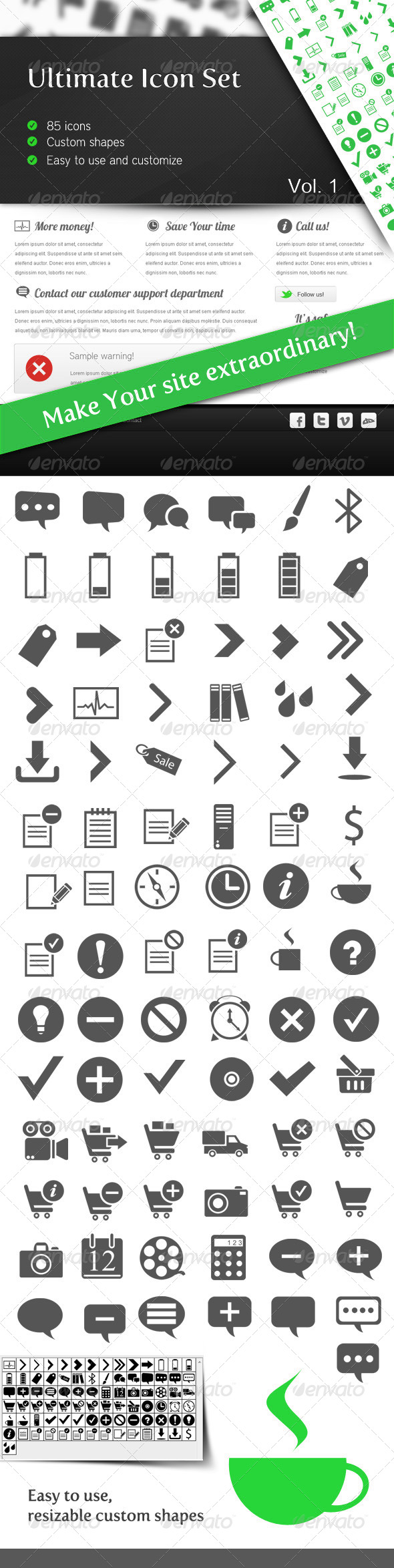Ultimate Icon Set Vol 1 - Symbols Shapes