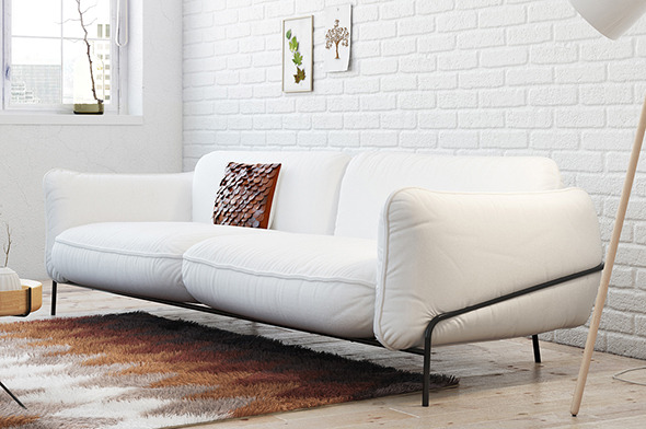 Realistic Minimalistic Sofa And Pillow - 3DOcean Item for Sale