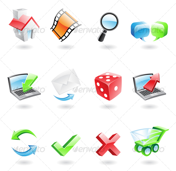 Graphic River Glossy and colourful 3D web icons Icons -  Web 51074