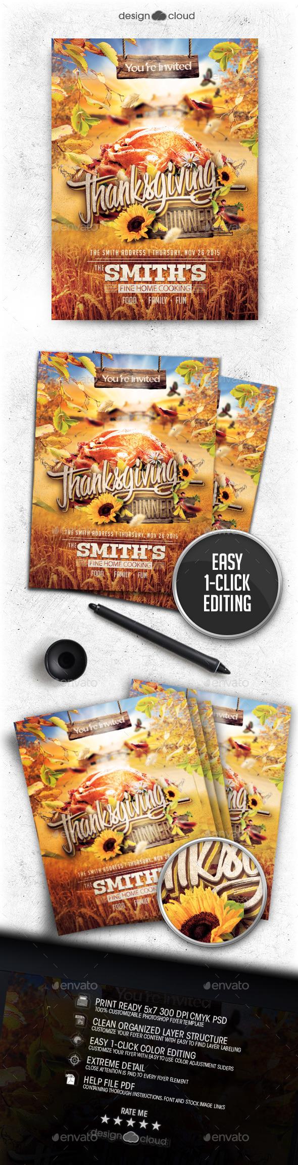 Thanksgiving Dinner Invite Flyer Template