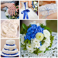 Collage of wedding photos in blue