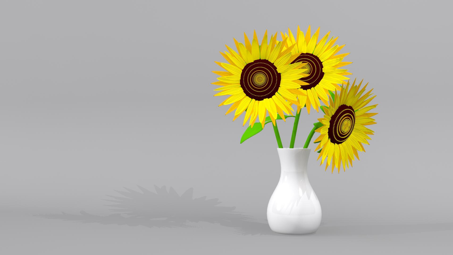 Sunflower And Sunflowers With Pots 3d Model By Mikealdrain