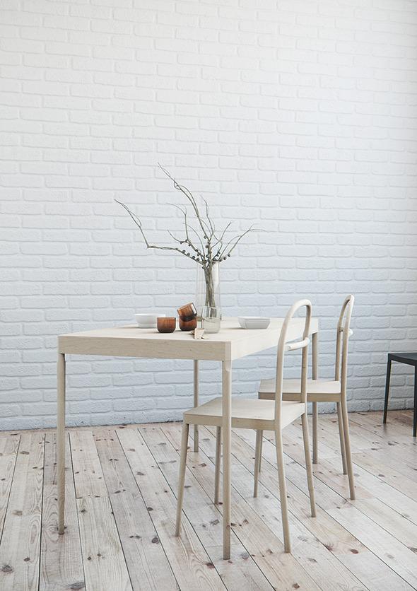 Realistic Nordic Dining Set - 3DOcean Item for Sale
