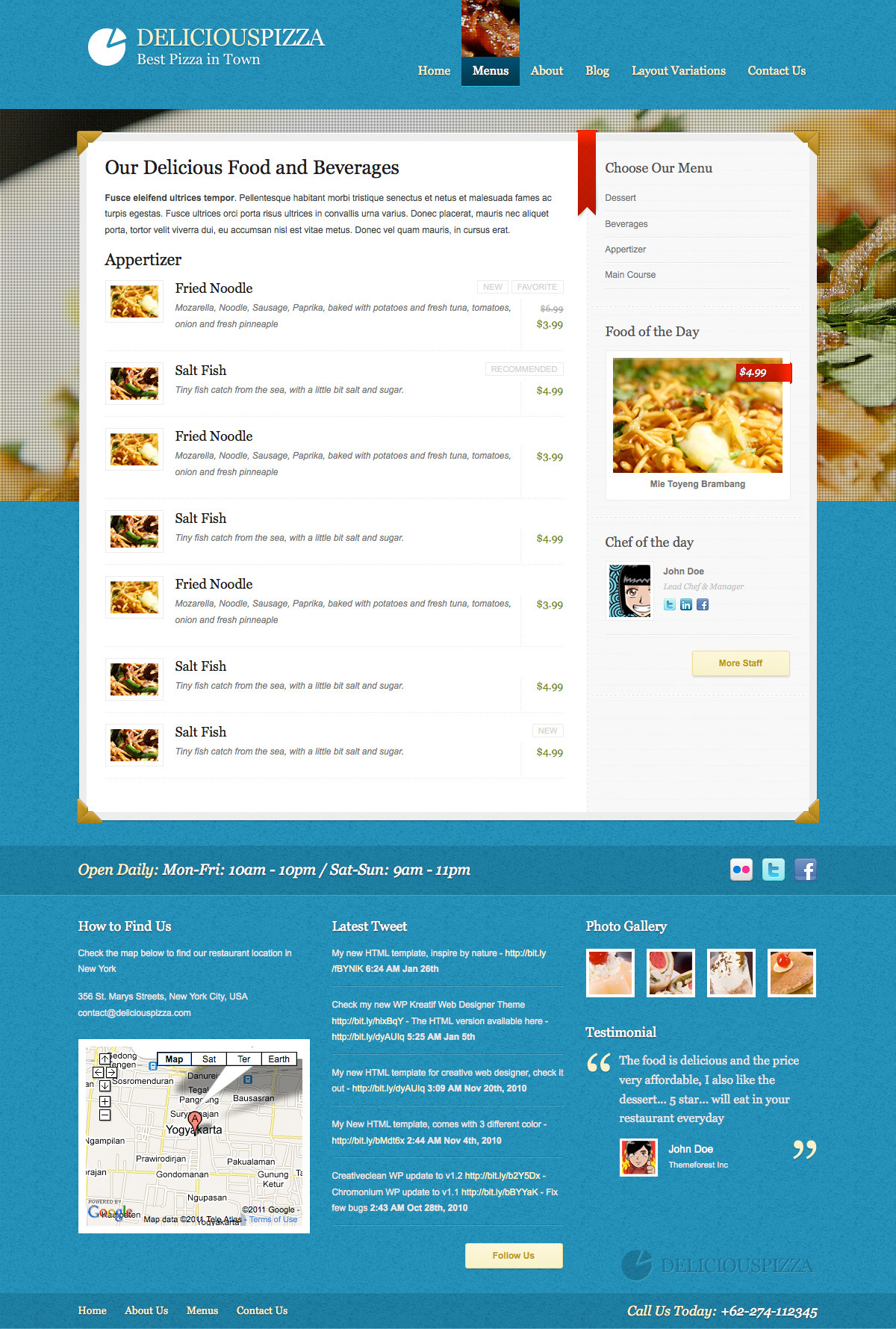 Delicious Restaurant Wordpress - Menus - Blue Color