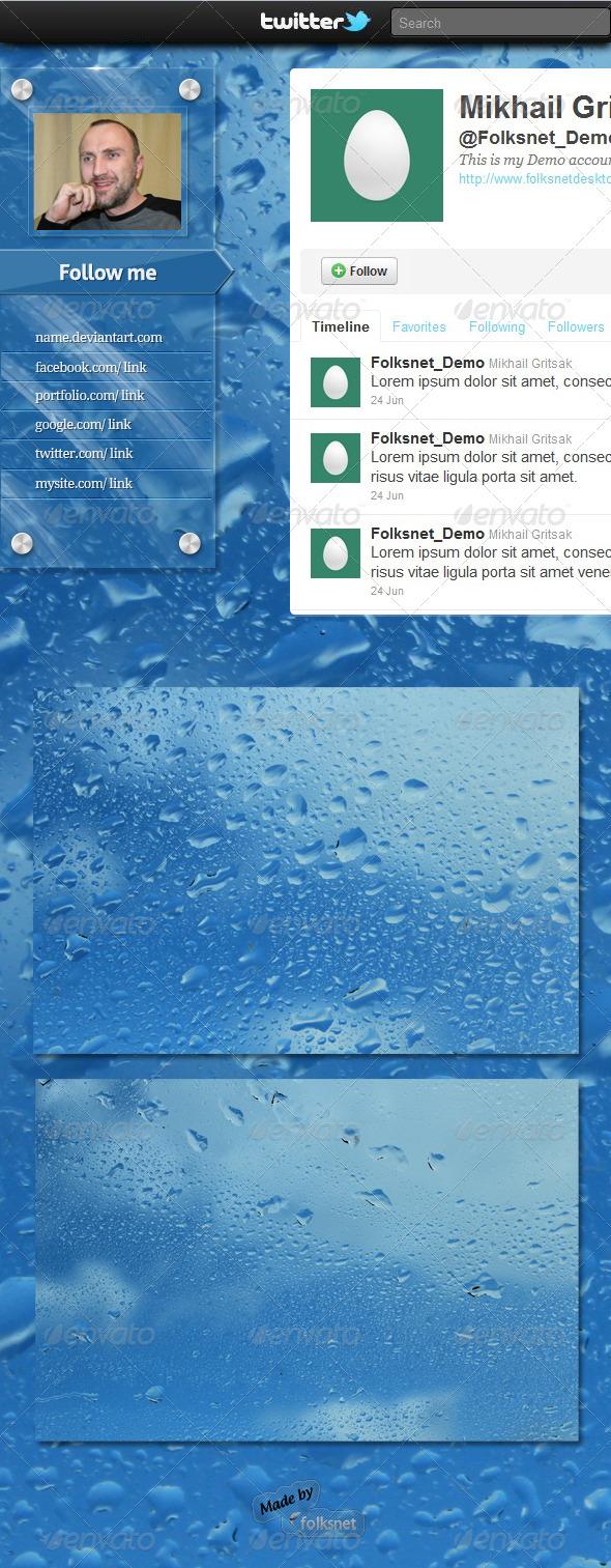 Wet Glass Twitter Background - Twitter Social Media