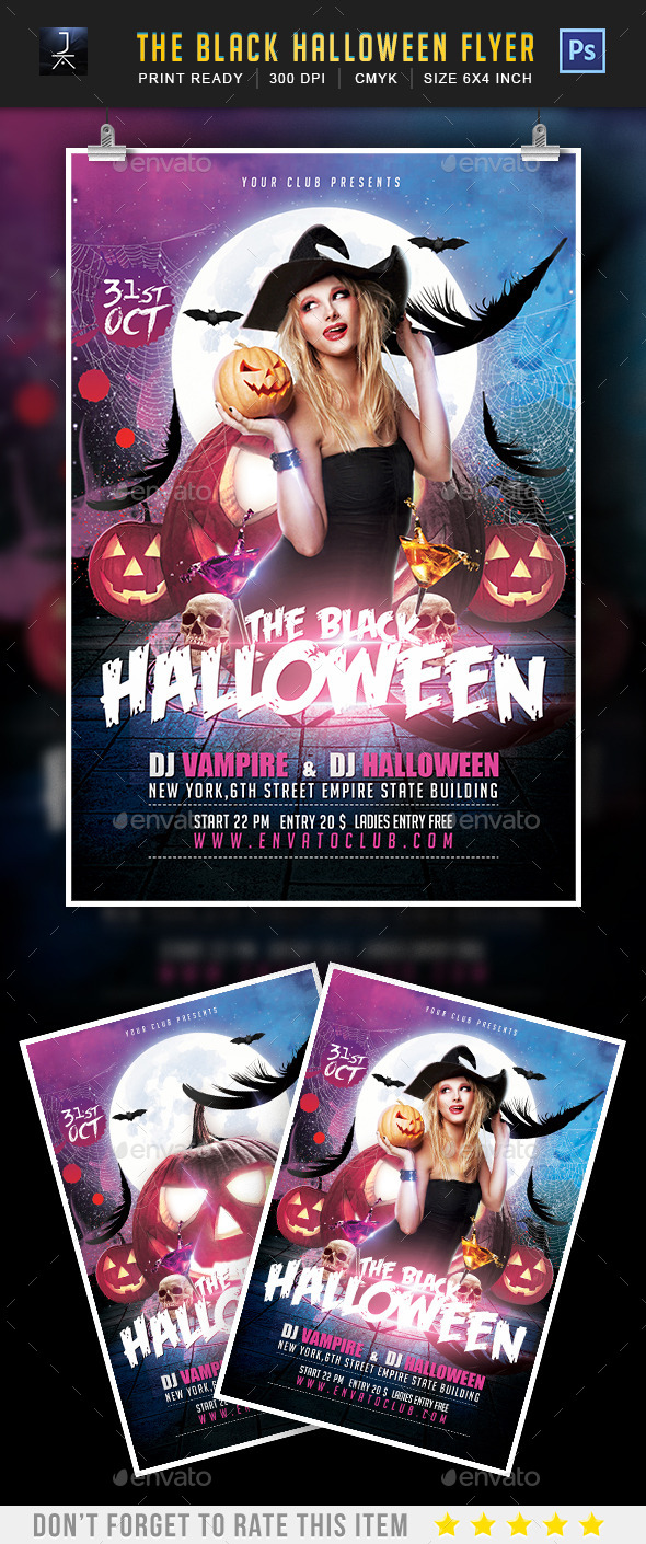 The Black Halloween Party Flyer Template