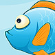 Set of Sea Animals on Blue Background