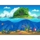 Cartoon Underwater World With Fish Plants and Island
