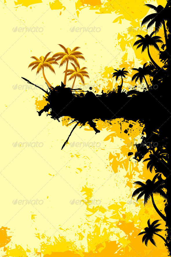 Grunge Tropical Landscape